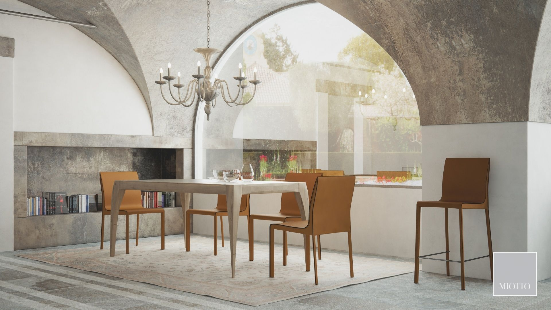 miotto_Breneta dining table, ardini chair stool tan