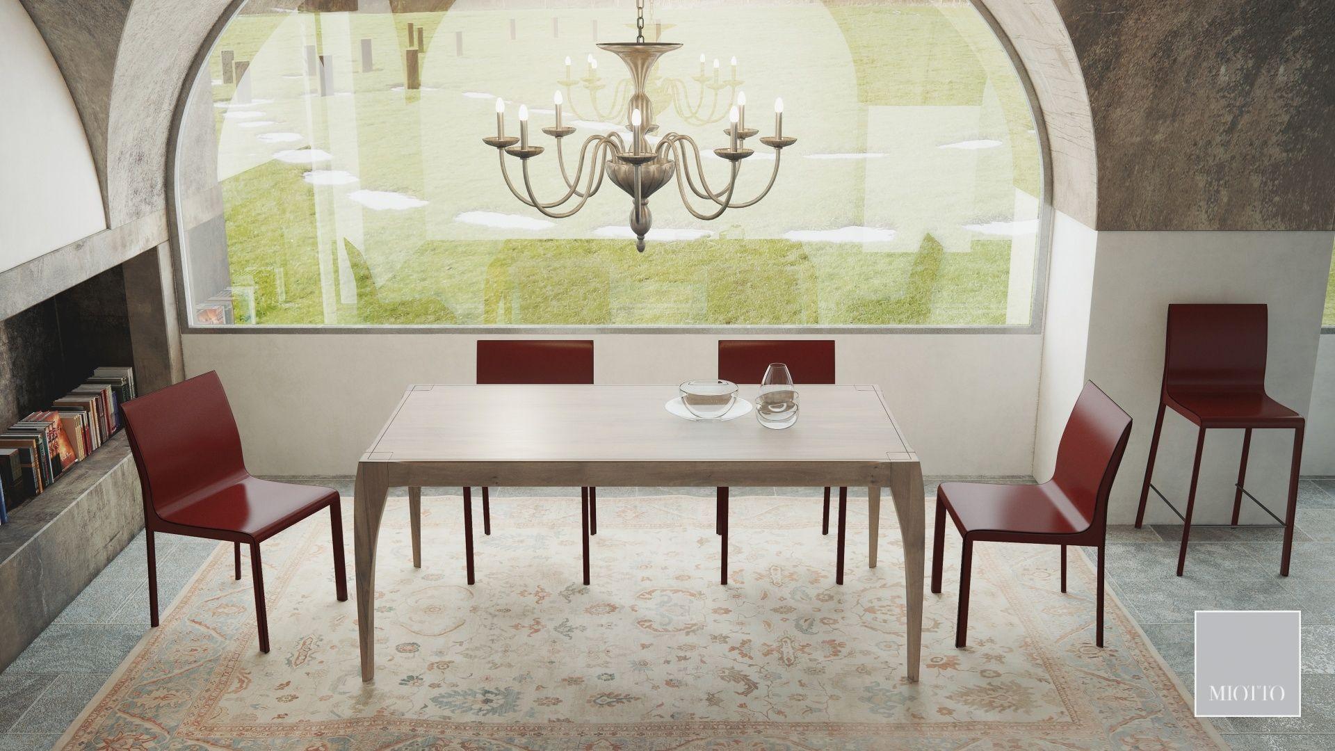 miotto_Breneta dining table walnut, ardini chair stool burgundy