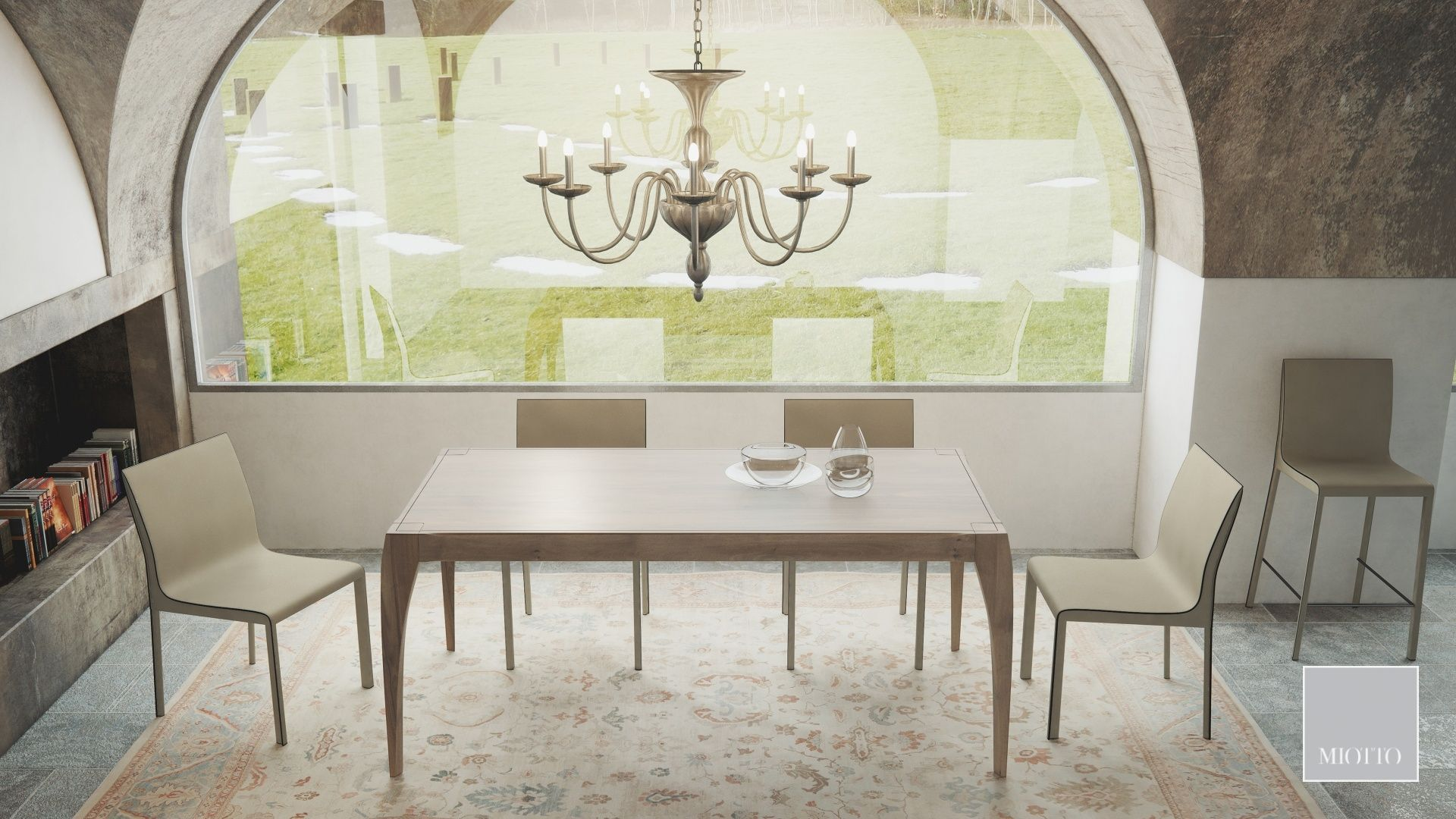miotto_Breneta dining table walnut, ardini chair stool cream